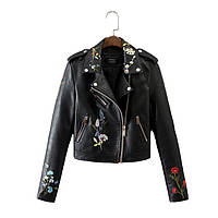 Куртка Dior с вышивкой экокожа люкс