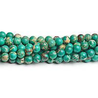 10 мм Изумрудный варисцит, Натуральный камень, бусины 10 мм, Круглые, Отверстие 1,5 мм, кол-во: 38-39 шт/нить