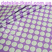 Ткань бязь сиреневого цвета с густыми горохами размером 3 см (№ 670а).