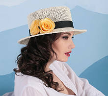 Летняя шляпа канотье из натуральной соломки поля 7 см