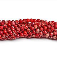 Красный варисцит, Натуральный камень, На нитях, бусины 8 мм, Круглые, Отверстие 1 мм, кол-во: 47-48 шт/нить