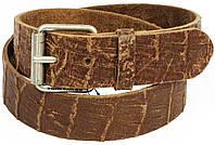 Мужской кожаный ремень под крокодила, Tom Tailor, Германия, 100046 коричневый, 4х106 см