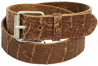 Женский кожаный ремень под крокодила, Tom Tailor, Германия, коричневый