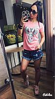Женская стильная футболка из натурального хлопка