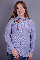 Мальва. Женская рубашка больших размеров. Синяя полоска.