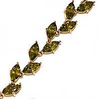 Браслет женский ХР.Цвет позолота. Камни: оливковый циркон. Длина 17,5 см.Ширина 10 мм