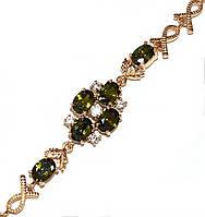 Браслет женский ХР.Цвет позолота. Камни: оливковый циркон. Длина 17-19 см.Ширина 12 мм