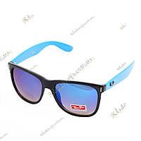 Зеркальные очки Ray San Wayfarer синие (бензин, дифракция), фото 1