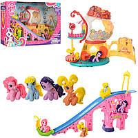 Игровой набор город пони с домиком и горкой Little Pony: 4 фигурки, свет + звук