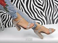 Женские босоножки на каблуке 9,5 см, лаковые, светло коричневые / босоножки женские, закрытая пятка, стильные