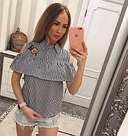 Женская красивая блуза с открытыми плечами в полоску (3 цвета), фото 1
