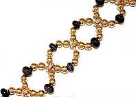 Браслет женский ХР.Цвет позолота. Камни: чёрный агат с серыми полосками. Длина 19-22 см.Ширина 20 мм