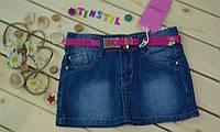 Стильная  модная  джинсовая юбка с потертостями  для девочки рост 134-164