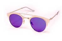 Женские солнцезащитные очки с зеркальным напылением в стильной круглой оправе