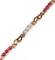Браслет ХР, позолота с красным оттенком.Камни: белый и малиновый циркон. Длинна 17-20 см. Ширина 4 мм.