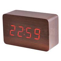 Красивые настольные часы VST 863-1, красная индикация, будильник, дерево, кабель USB/4хААА, 100х61х42 мм