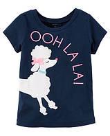 Синяя футболка с собакой для девочки Carters 2Т, 3Т, 4Т
