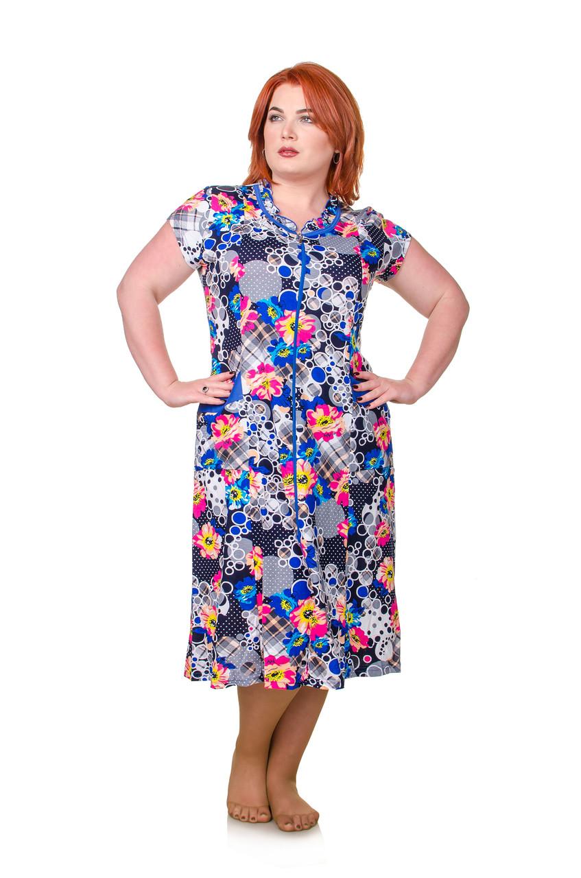 Халат размер плюс Шары электрик 50-58 - FaShop  Женская одежда от производителя в Харькове