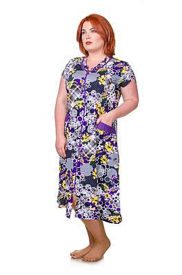 Халат размер плюс Шары фиолет 50-58