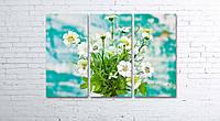"""Модульная картина на полотне """"Цветы в вазе на фоне крашенной стены"""""""