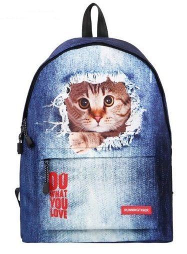 Рюкзак джинсовый с котом