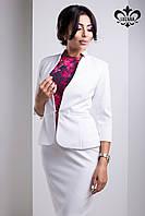 Белый женский пиджак Корсика ТМ Luzana 42-50 размеры