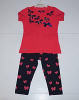 Летний костюм футболка + лосины  для девочек от 5 до 8 лет.