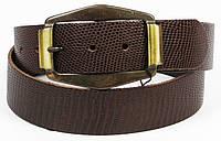 Мужской ремень под рептилию, Vanzetti, Германия, 100003 коричневый 4х117 см