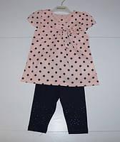 Летний костюм футболка + лосины  для девочек от 1 до 4 лет.