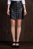 Юбка кожа 6076, черная кожаная юбка
