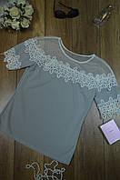 Блуза женская  однотонная-гипюр Italy, фото 1