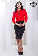 Яркий красный жакет Бостон ТМ Luzana 42-50 размеры