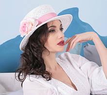 Женская летняя шляпа с небольшими полями из соломки поля 7 см