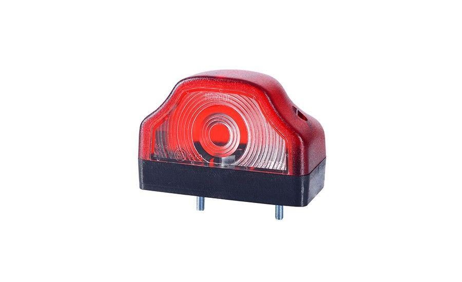 Фонарь подсветки заднего номера, с красным корпусом HOR 19