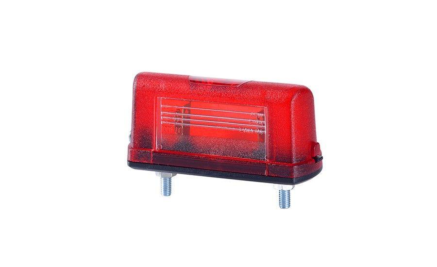 Универсальный, маленький фонарь подсветки заднего номера с красным корпусом