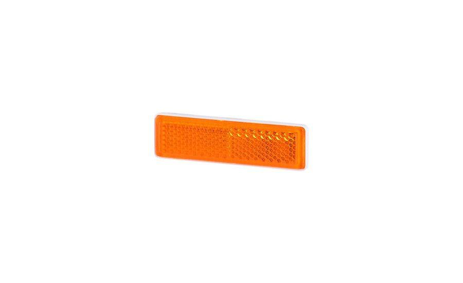Рефлектор - отражатель прямоугольный, узкий, оранжевый (19х69 мм), с самоклеющейся лентой