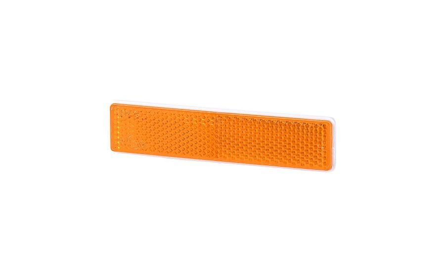 Рефлектор - отражатель прямоугольный, оранжевый (103х21 мм), с самоклеющейся лентой