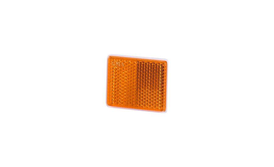 Рефлектор - отражатель квадратный, оранжевый (38х47 мм), с самоклеющейся лентой
