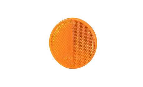 Рефлектор - отражатель круглый, оранжевый (Ø 75), с самоклеющейся лентой, фото 2