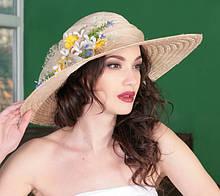 Шикарная летняя шляпа с широкополыми  полями из соломки сизаль