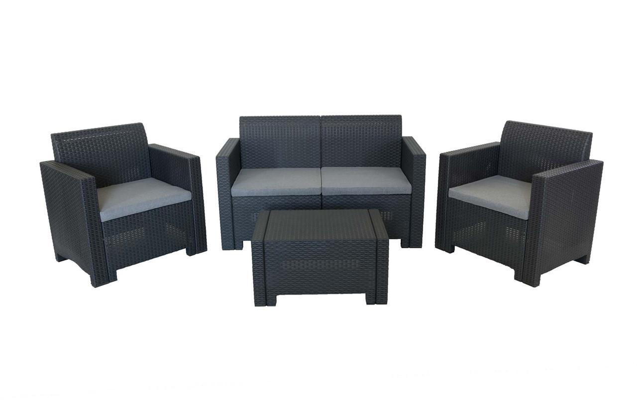 Комплект мебели Nebraska (2х местный диван) 4 предмета, Bica (Италия) антрацитовый