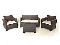 Комплект мебели Nebraska (2х местный диван) 4 предмета, Bica (Италия) антрацитовый  коричневый
