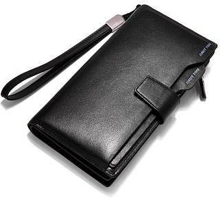 Первоклассный мужской кожаный клатч черный 041BQ