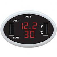 Часы электронные автомобильные VST 708-1 (красный / красный)