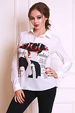 Модная молодежная блуза из креп-шифона с популярным принтом, фото 3