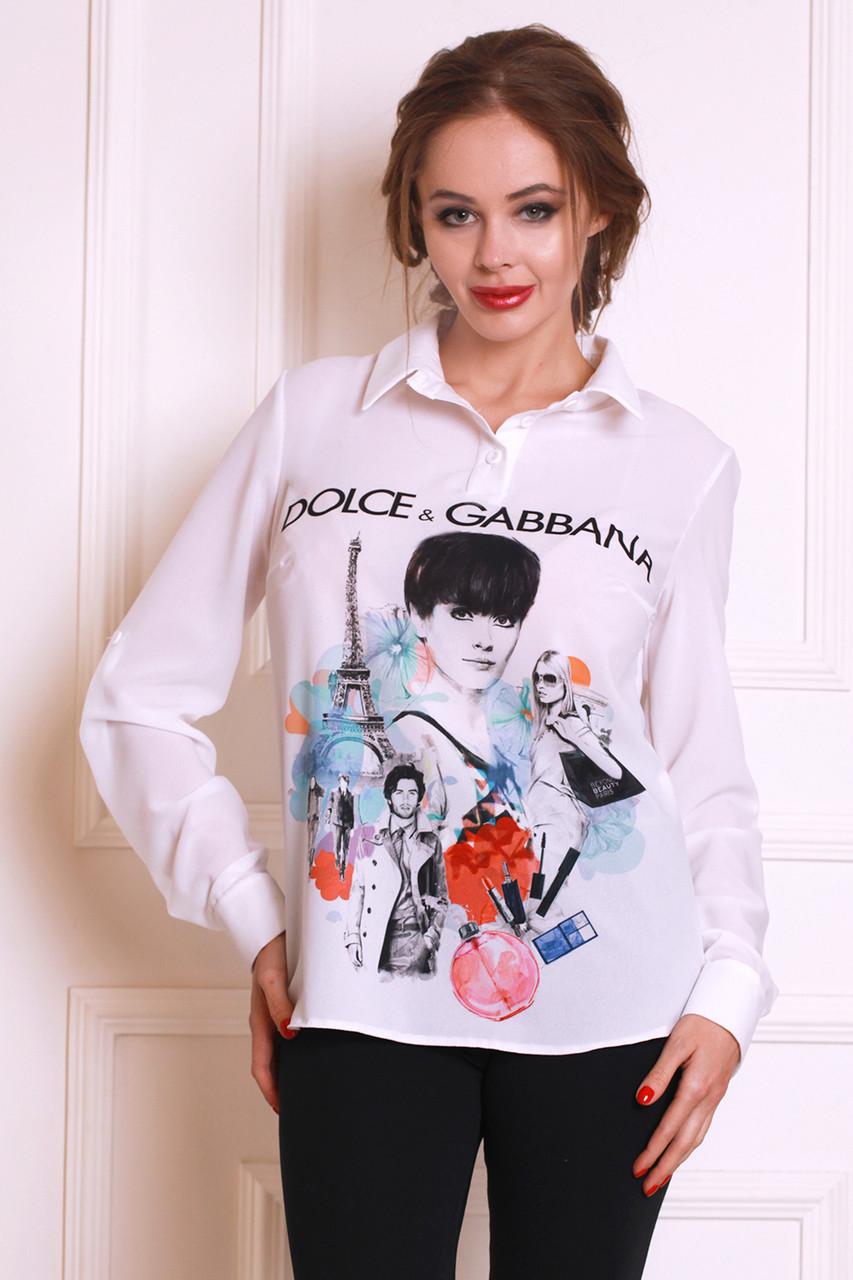 Модная молодежная блуза из креп-шифона с популярным принтом