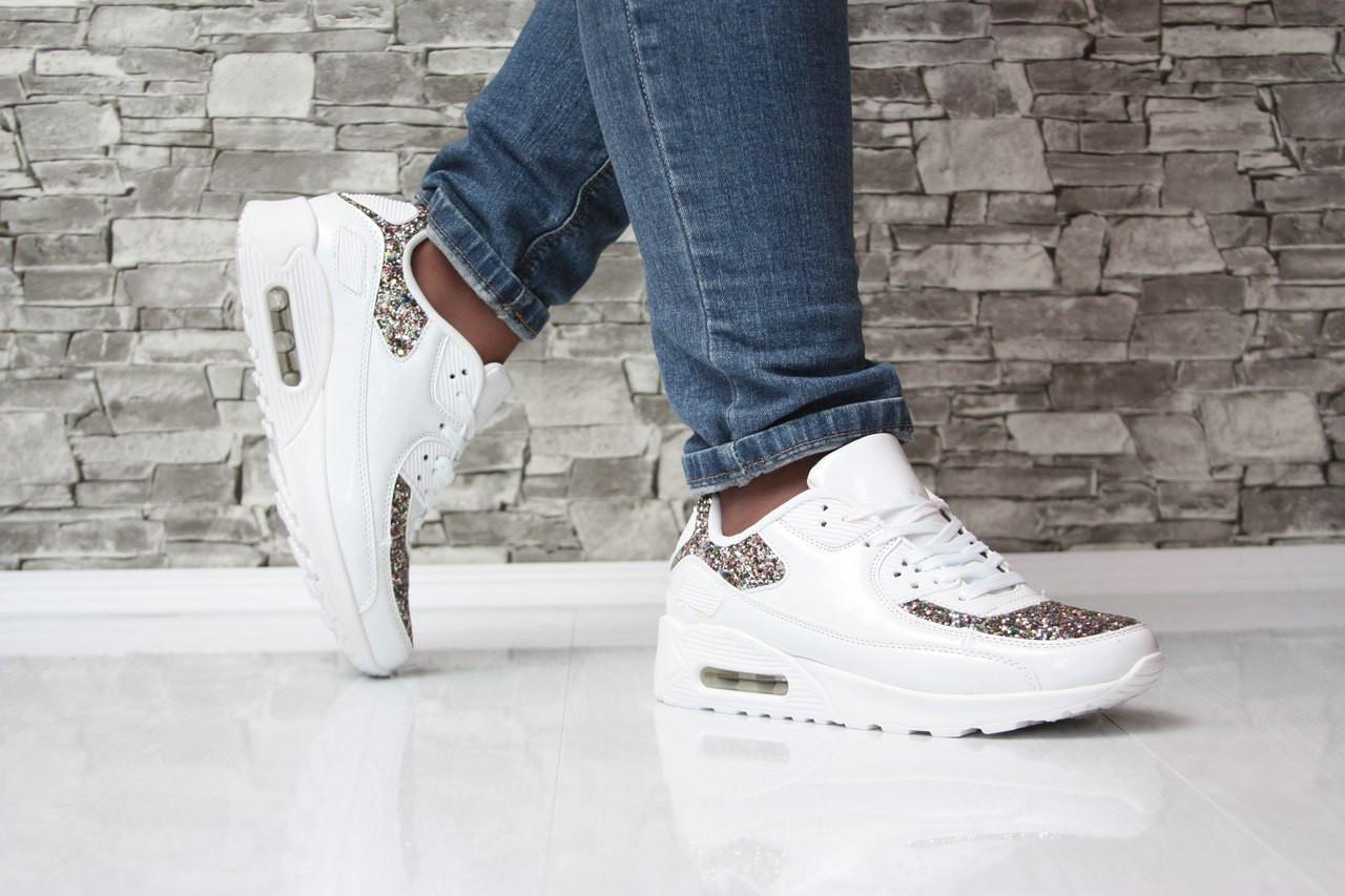7c8feb89e9dc Кроссовки Nike Air Max белые с блестками аирмакс кожа спорт найк копия с 39  по 41 размер