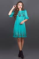 Платье с перфорацией Айсель р.44-52 бирюза