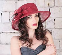 Элегантная летняя шляпа  из натуральной соломки синамей поля 10 см