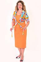 Платье-костюм летнее, лен ,хлопок, 50,52,54,56,58, за колено ,большие размеры,ПЛ 067-6. 50 Оранжевый